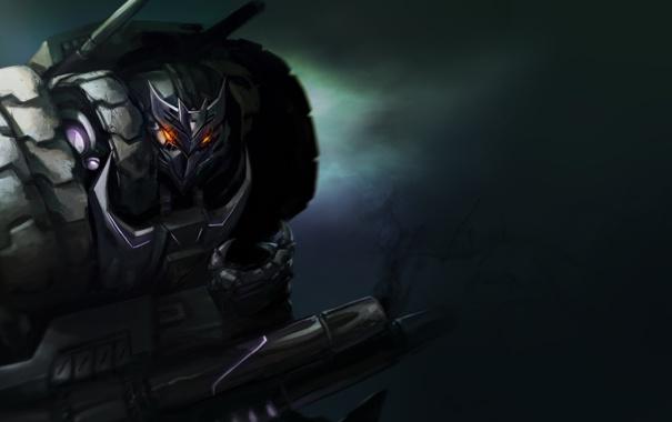 Фото обои оружие, фон, робот, арт, Transformers