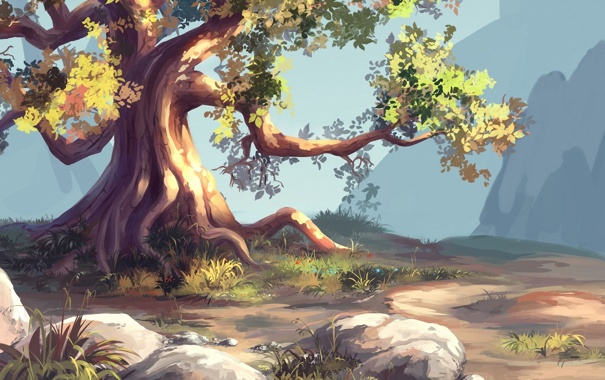 Фото обои горы, природа, корни, камни, дерево, арт