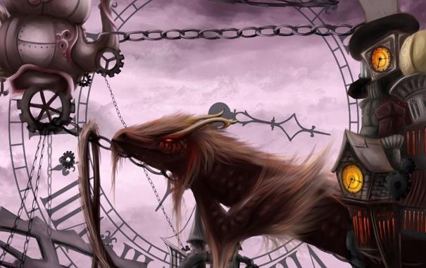 Фото обои дракон, часы, арт, цепи, механизмы