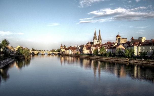 Фото обои река, Регенсбург, дома, фото, regensburg, мост, Германия