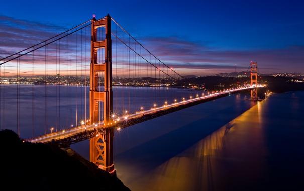 Фото обои мост, огни, вечер, Золотые Ворота, США, Сан - Фрацыско