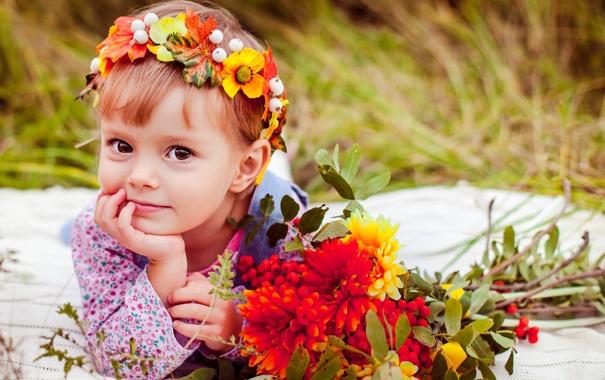 Фото обои поле, лето, трава, цветы, природа, дети, букет