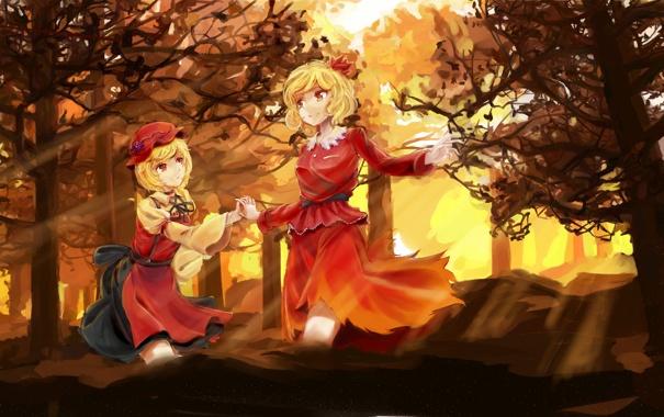 Фото обои лес, деревья, две девушки, touhou, aki shizuha, aki minoriko