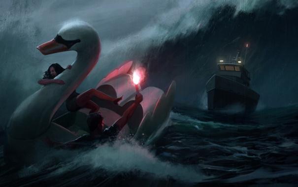 Фото обои море, шторм, дождь, корабль, лебедь, falschfeuer
