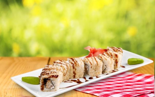 Фото обои sushi, суши, роллы, japanese, seafood