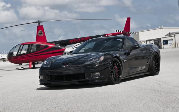 Фото обои чёрный, Z06, Corvette, Chevrolet, вертолёт, шевроле, black