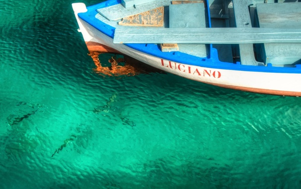 Фото обои надпись, баркас, вода, лодка, рыбы, море