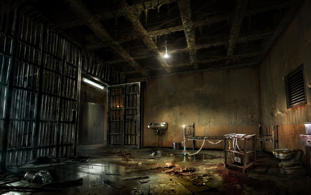Фото обои свет, кровать, тюрьма, решетки, Alone in the Dark, один в темноте
