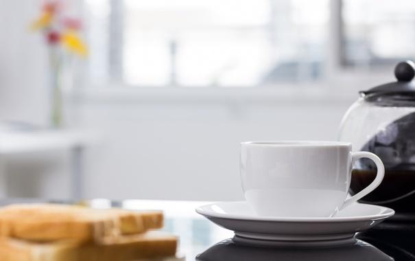 Фото обои цветы, стол, чайник, чашка, блюдце, боке, тосты