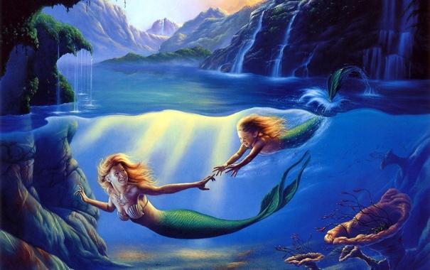 Фото обои sea, art, painting, mermaid, cave, Mother and Child, Jim Warren