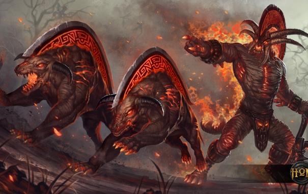 Фото обои демон, hon, Heroes of Newerth, War beast, Skullcrusher, S2Games, адские псы