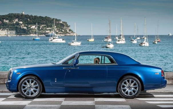 Фото обои небо, вода, синий, фон, купе, яхты, Rolls-Royce