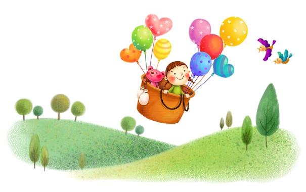 Фото обои полет, корзина, воздушные шары