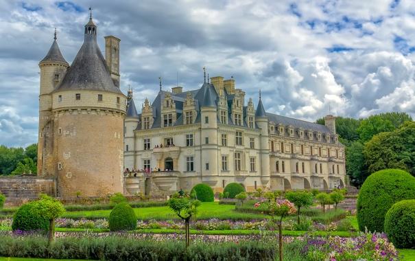 Фото обои небо, облака, парк, замок, Франция, башня, шато