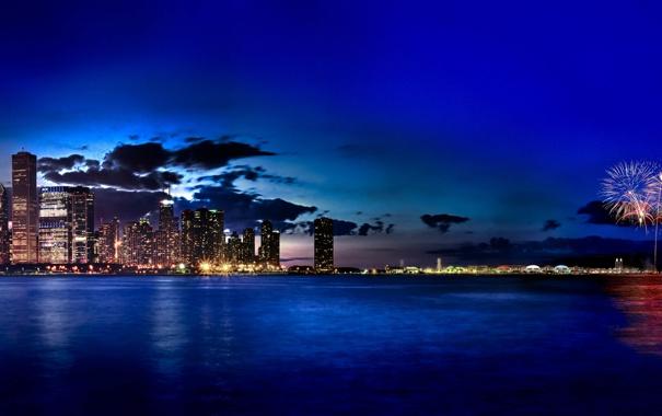 Фото обои city, Чикаго, USA, Chicago, Illinois, Navy Pier, Fireworks