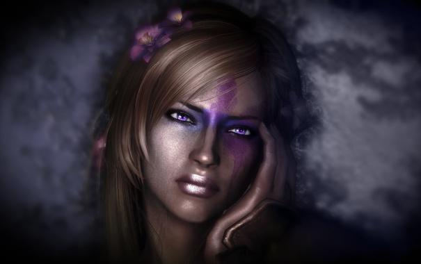 Фото обои Skyrim, девушка, Скайрим, волосы, лицо, рука, The Elder Scrolls V