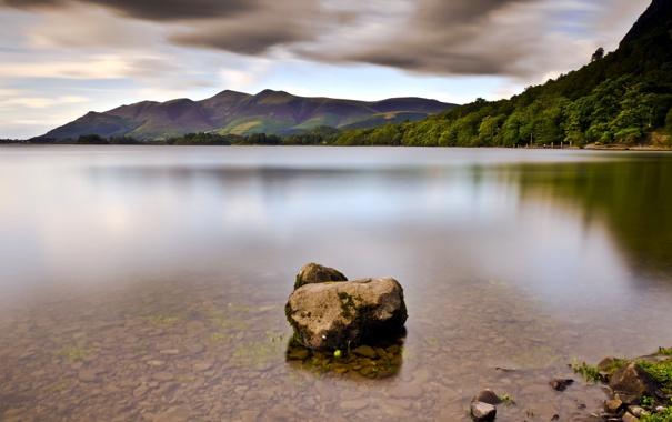 Фото обои пейзаж, озеро, камень
