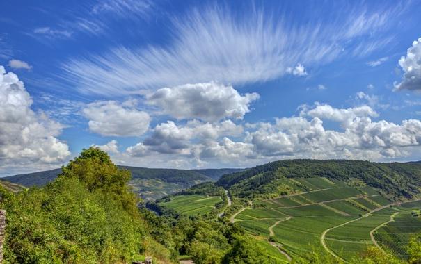 Фото обои небо, горы, ландшафт, Германия, germany, лес.