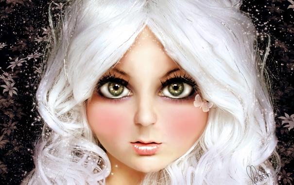 Фото обои глаза, взгляд, бабочка, волосы, кукла, блондинка, девочка