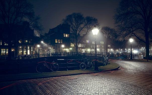 Фото обои деревья, мост, велосипед, дома, тропа, Амстердам, канал
