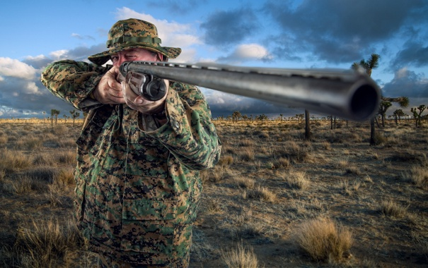 Фото обои gun, portrait, Safari Shooter