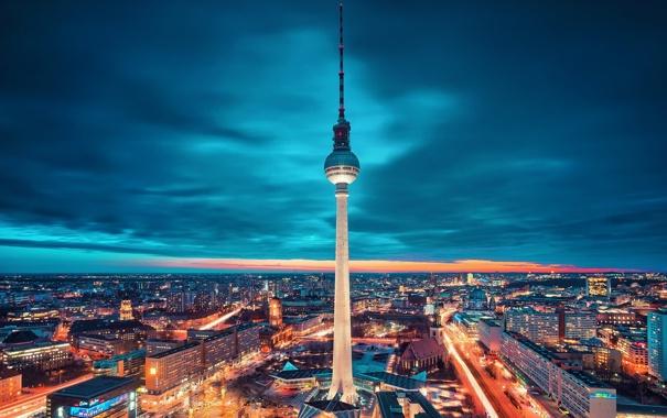 Фото обои ночь, город, Berlin