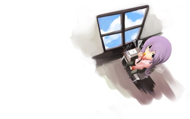 Фото обои аниме, офис, девочка