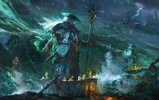 Фото обои море, шторм, молнии, дух, лодки, шляпа, свечи