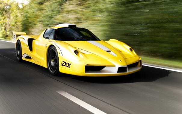 Фото обои дорога, желтый, Ferrari, supercar, феррари, road, enzo