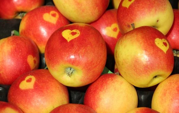 Фото обои яблоки, еда, фрукты, сердечко