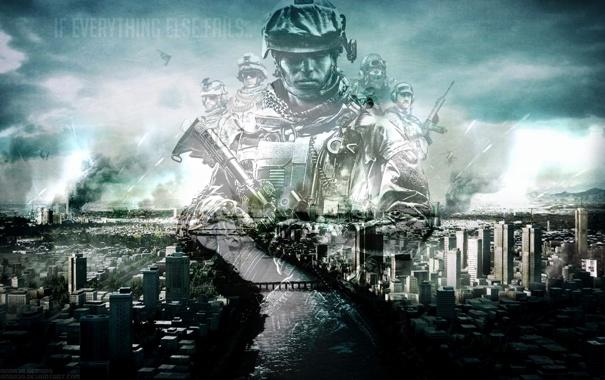 Фото обои город, солдат, battlefield