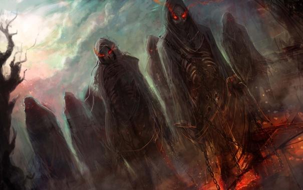 Фото обои zombies, living, black magic, dead red eyes