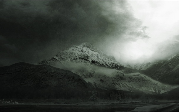 Фото обои природа. пейзаж, горы. виды, красоты. чёрно-белое