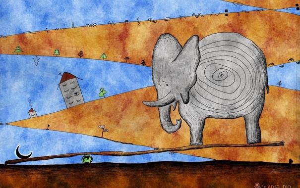 Фото обои деревья, дом, слон