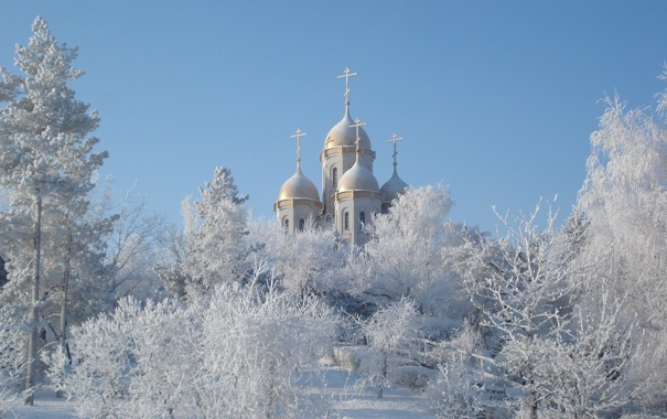 Фото обои зима, пейзаж, снег, купола, церкви