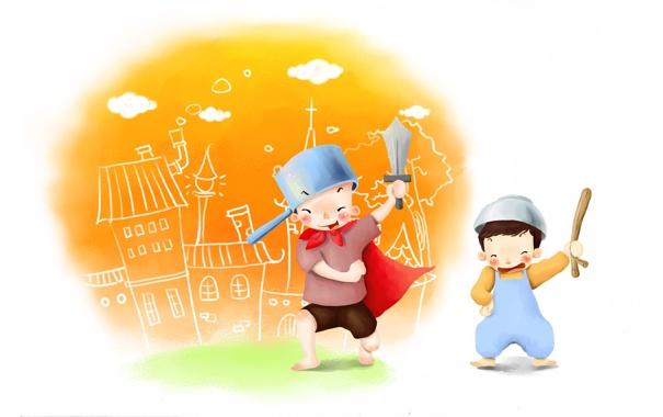 Фото обои радость, детство, игры, игрушки, рисунок, меч, кастрюля