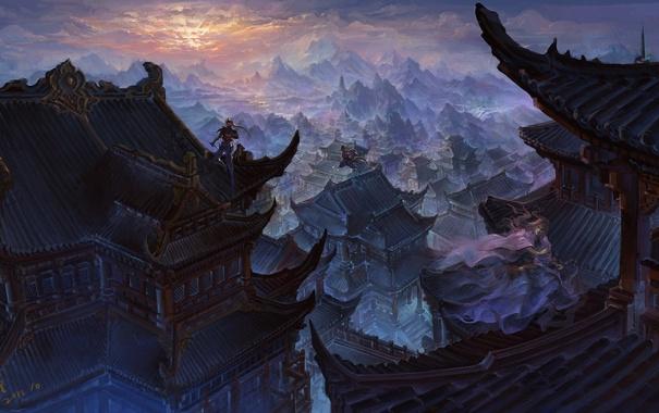 Фото обои девушка, закат, горы, город, прыжок, азия, здания