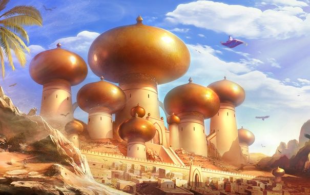 Фото обои город, сказка, Aladdin, фан-арт, TamplierPainter, Аладдин, ковер-самолет