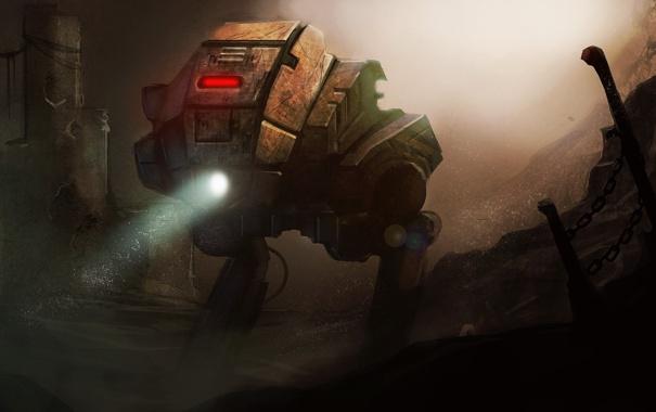 Фото обои пыль, Робот, фонарь, цепи
