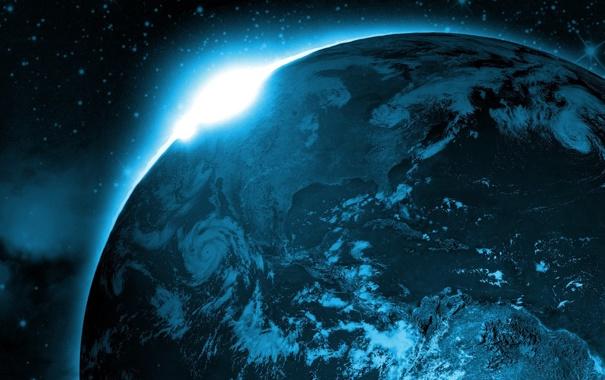 Фото обои пейзаж, земля, синяя