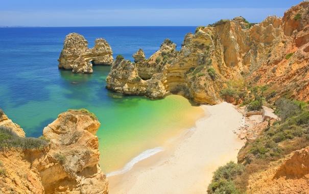 Фото обои море, пляж, небо, вода, океан, скалы, бегег