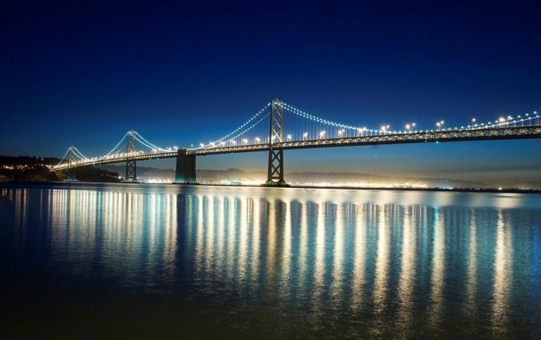 Фото обои вода, ночь, мост, город, огни, отражение, фон
