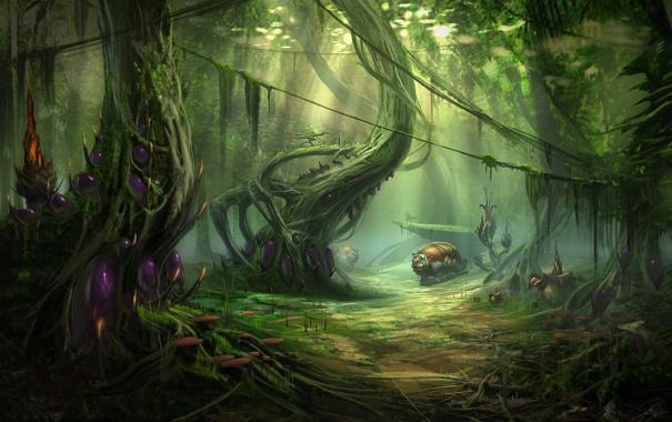 Фото обои существо, лес, грибы, деревья, арт, лианы