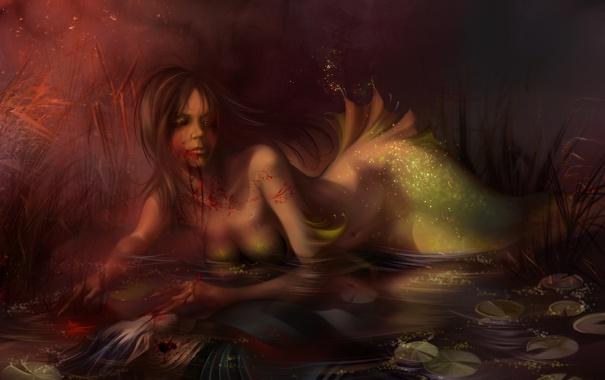 Фото обои вода, кровь, эльф, русалка, Девушка, искры, труп