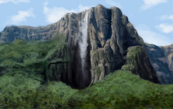 Фото обои деревья, водопад, природа, арт, зелень, скала, гора