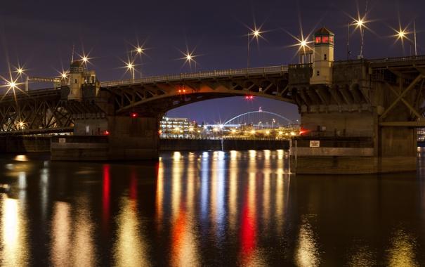 Фото обои ночь, мост, город, огни, река