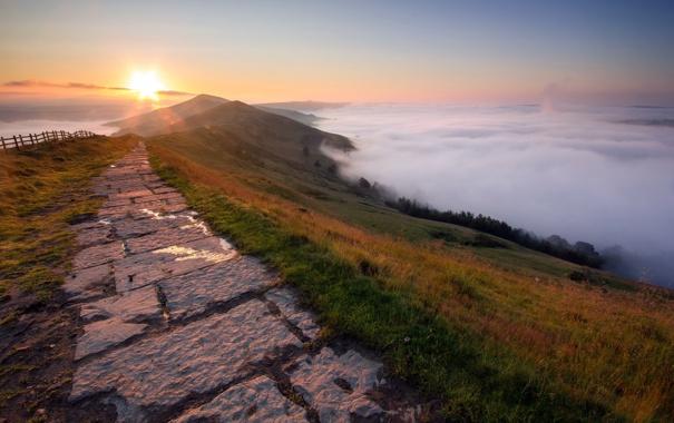 Фото обои дорога, пейзаж, гора, облока