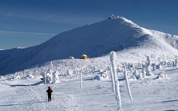 Фото обои снег, горы, человек