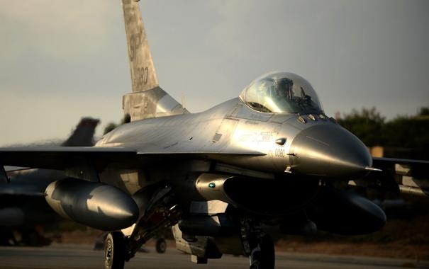 Фото обои истребитель, кабина, пилот, F-16, Fighting Falcon, «Файтинг Фалкон»