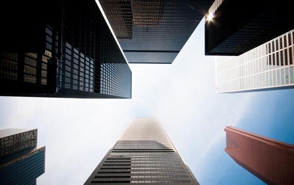 Фото обои Небо, Город, Здания, Небоскрёбы